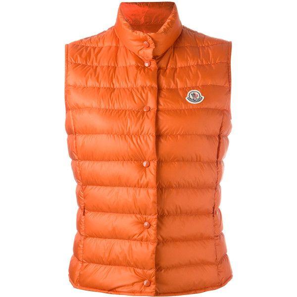 Moncler Liane gilet (€470) ❤ liked on Polyvore featuring outerwear, vests, orange, moncler, goose down vest, sleeveless vest, moncler vest and orange vest
