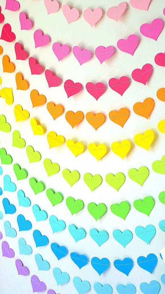 Many colorful hearts