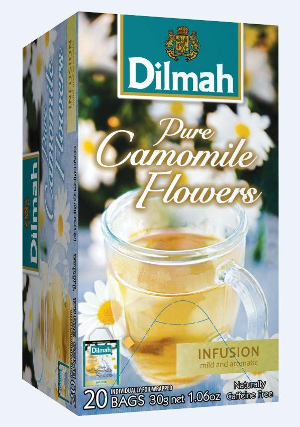Čaj dilmah s cvetovi kamilic.