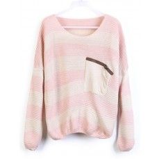 Pink Stripes Loose Sweater with Pocket.
