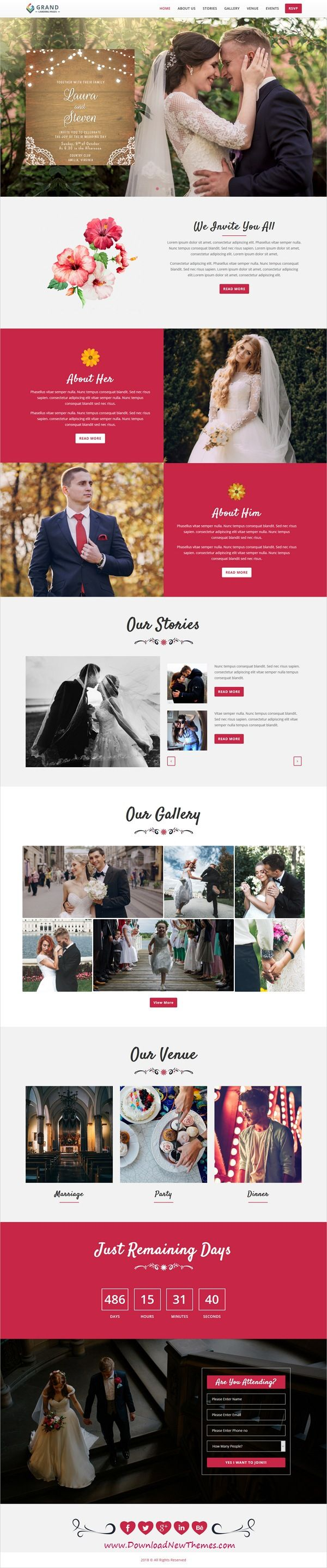 Grand is clean and modern design responsive multipurpose bootstrap HTML #template for #wedding invitations lead generating landing page website with 75+ niche homepage layouts to live preview & download click on image or Visit #marriage #couple #love