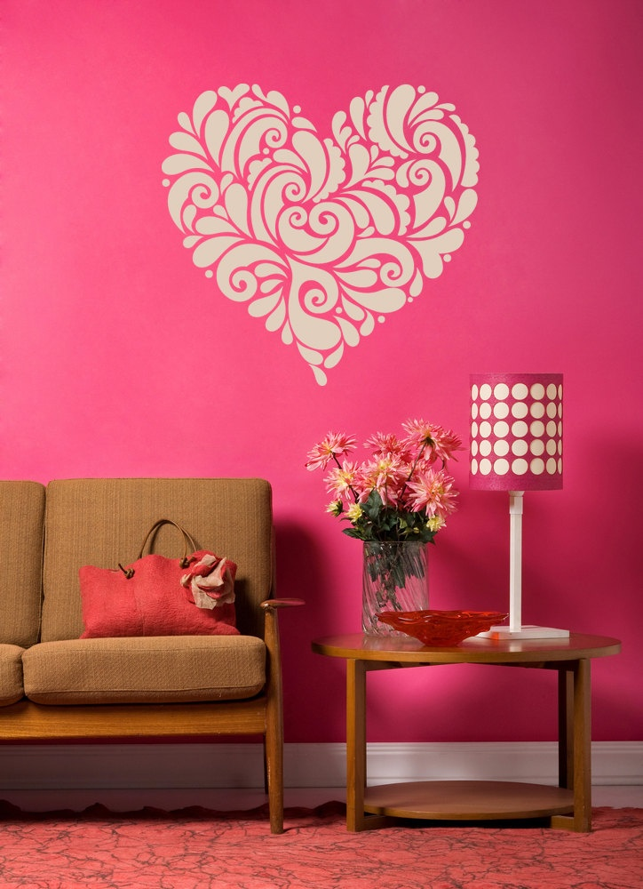 Valentine Retro Vintage Heart of Frills and Flourishes - Vinyl Wall Art Decal. $34.00, via Etsy.