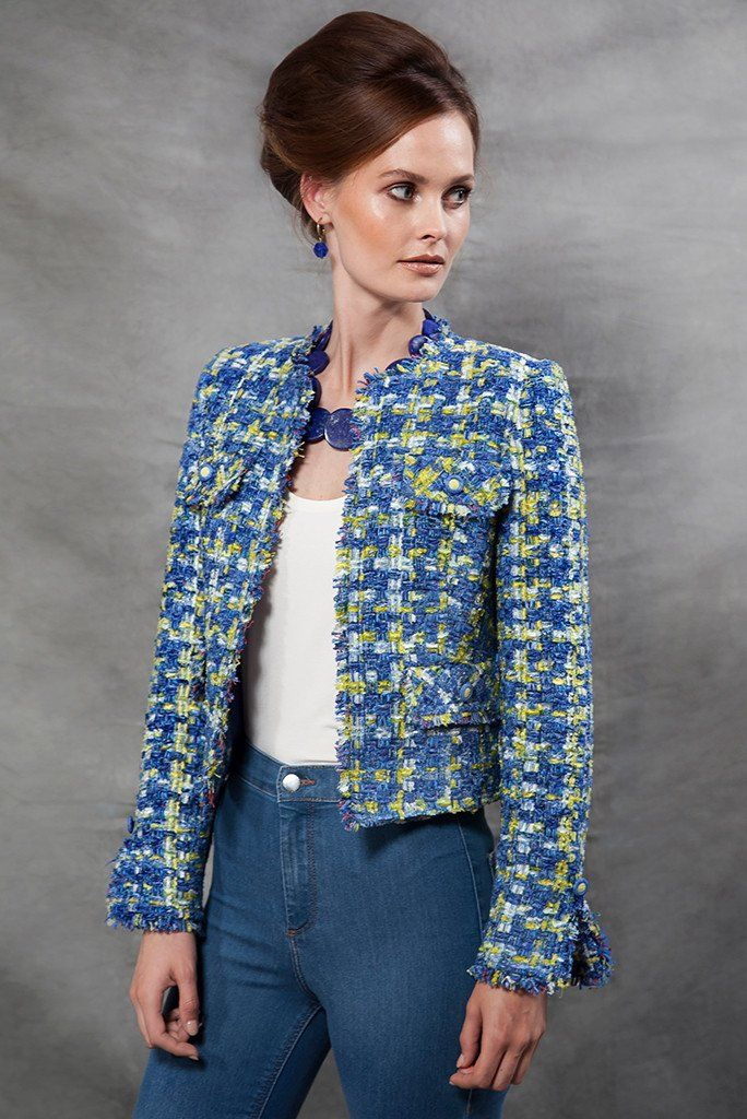 Checked Tweed Jacket in Blue and Lime  - Carrie