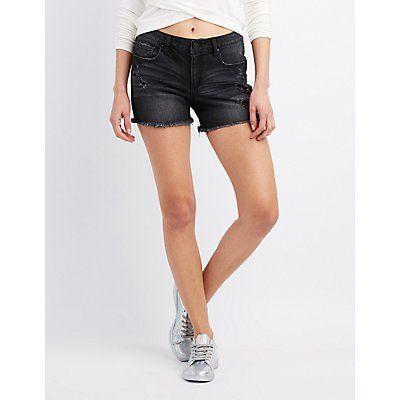 Refuge Black Girlfriend Cut-Off Denim Shorts - Size 10