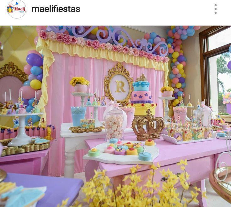 Disney Princess Birthday Party Dessert Table And Decor Princess Party Decorations Princess Theme Party Disney Princess Party Decorations