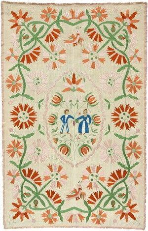 Bride and Groom Silk Embroidery Wall Tapestry - Bordado de Castelo Branco