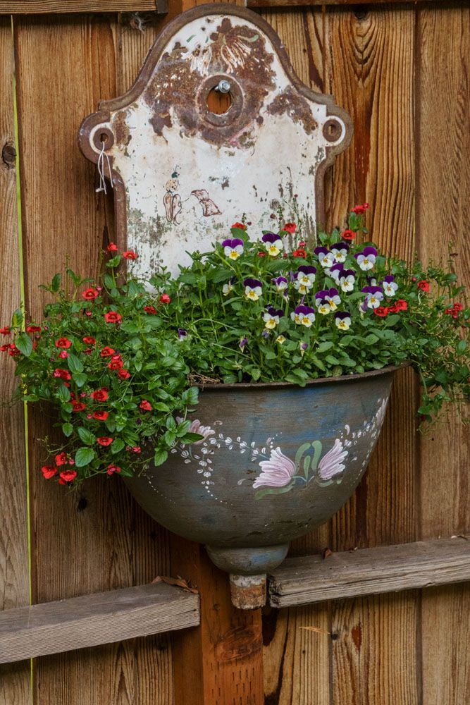 Turn a weathered water font into a wall pocket.