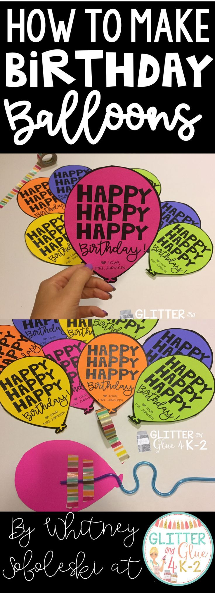 Fun and easy to create gifts for students! Birthday balloons! Just add a krazy straw!  Keywords: birthday gifts, student gifts, elementary teachers, student birthdays, birthdays at school, teachers, birthday balloons