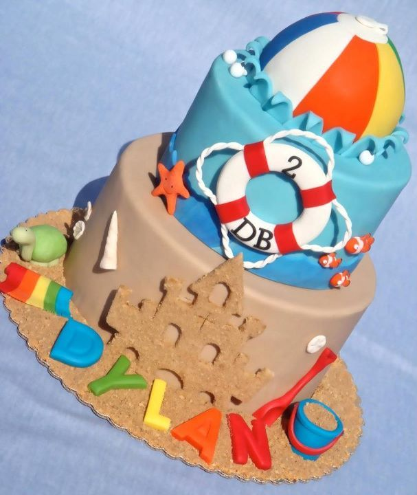 Beach Ball Birthday - A 3 tier beach cake (beach ball is removable smash cake). Thanks to Robbie33 whose idea this is.