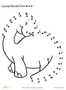 Alphabet Dot to Dot: Dinosaur