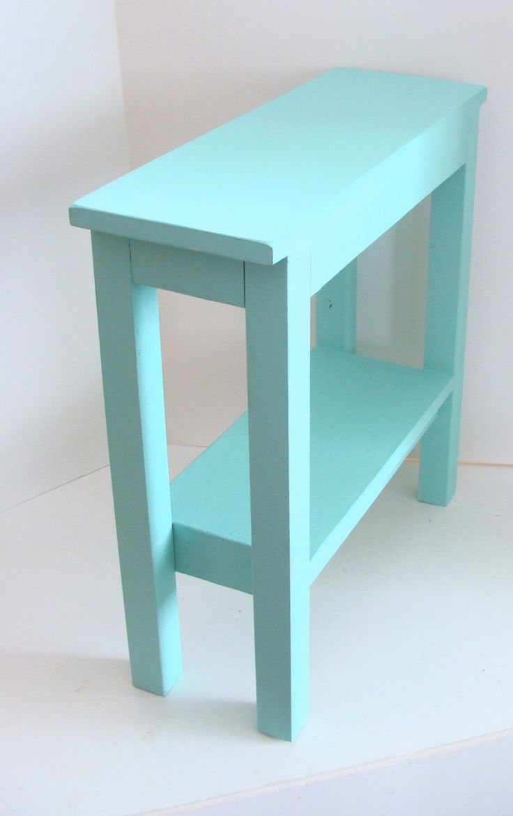 Narrow Side Table Painted Furniture End Table Wood Table Aqua Blue Beach Cottage Decor by baconsquarefarm on Etsy https://www.etsy.com/listing/174035972/narrow-side-table-painted-furniture-end