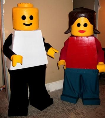 Homemade Lego Costume: Here's how to make a homemade lego costume. We made these costumes from wood frames wrapped in cardboard then for the head we used styrafoam, sanded it
