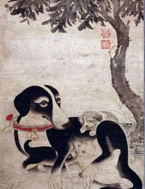 Yi Am (1507-1566), Mother Dog and Puppies, first half of the 16th century. Hanging scroll; ink and color on paper, 163 x 55 cm. The National Museum of Korea, Seoul