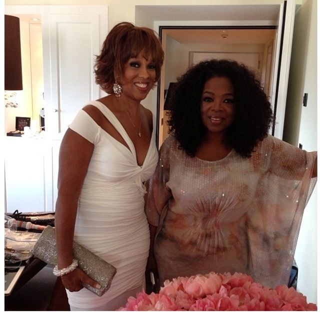 Gayle and Oprah is cream and white at the bride & grooms request! Tina Turner said this is the wedding of her dreams!