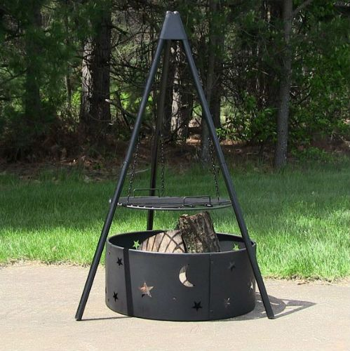 Outdoor Cooking Pit Ideas Tripod With Cooking Grate And