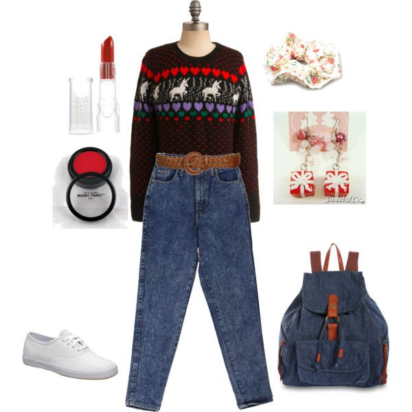 Tacky sweater outfit for Christmas!! haha!  Pinterest-ized ugly Christmas sweater fashion sheet!!! Love it!  <---Like this?  Download the FREE Sweater-izer App and prepare to laugh :-P https://itunes.apple.com/us/app/sweater-izer/id578251544?mt=8
