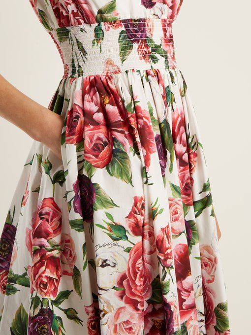 0457702d Dolce & Gabbana Rose and peony-print cotton poplin dress | Detail floral print  dress | Floral printed dress | Rose printed dress