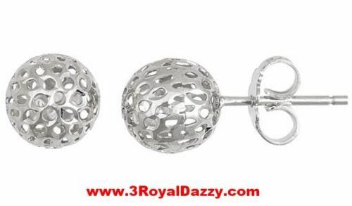 9mm Round Hollow Shiny Cut Ball Earring 18k Layered on .925 Sterling Silver