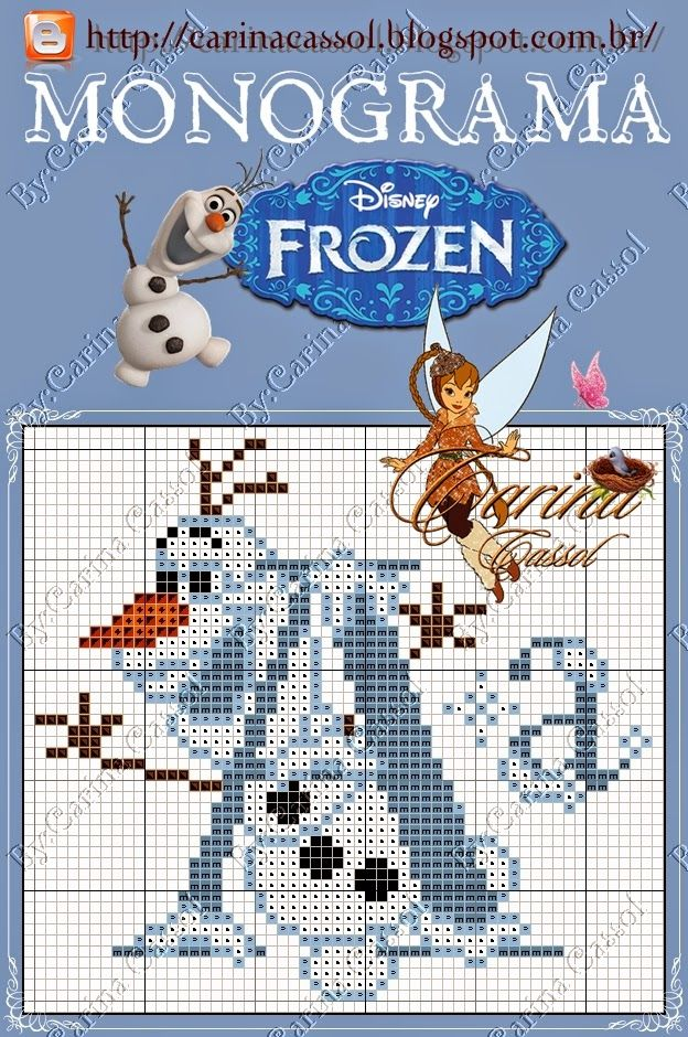 Cross Stitch alphabet with Olaf from Frozen, also other caracters Frozen movie on website. Check it out!
