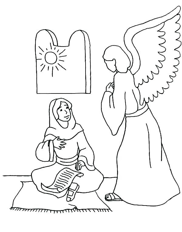 Angels Visit Mary And Joseph Coloring Page Coloring Page Angel