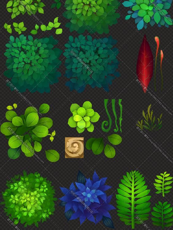 Game art material / Q version of the hand-painted map collection ... plant trees and grass: