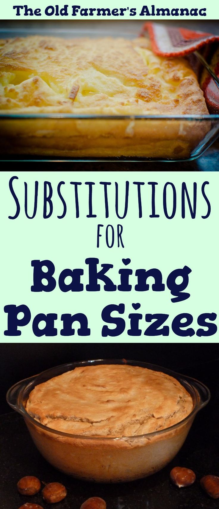 Chart for Baking Pan Sizes and Substitutions from The Old Farmer's Almanac.