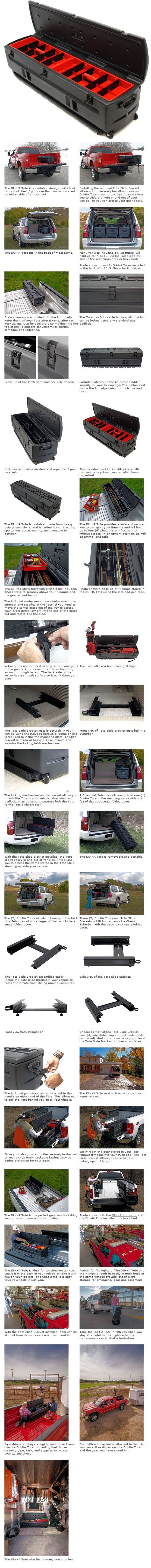 Check out our truly amazing Portable All-In-One Tool Box that serves as a storage unit; tool box; and a gun case. This truly unique and versatile tool box is a must have item for any Pickup or SUV! $329.00