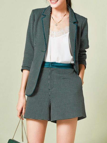 Green Pockets 3/4 Sleeve Elegant Two Piece Separates