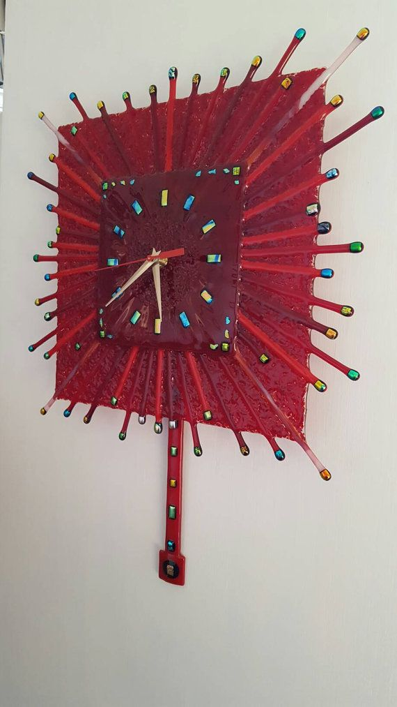 Check out this item in my Etsy shop https://www.etsy.com/listing/493529926/red-fused-glass-pendulum-clock-kiln