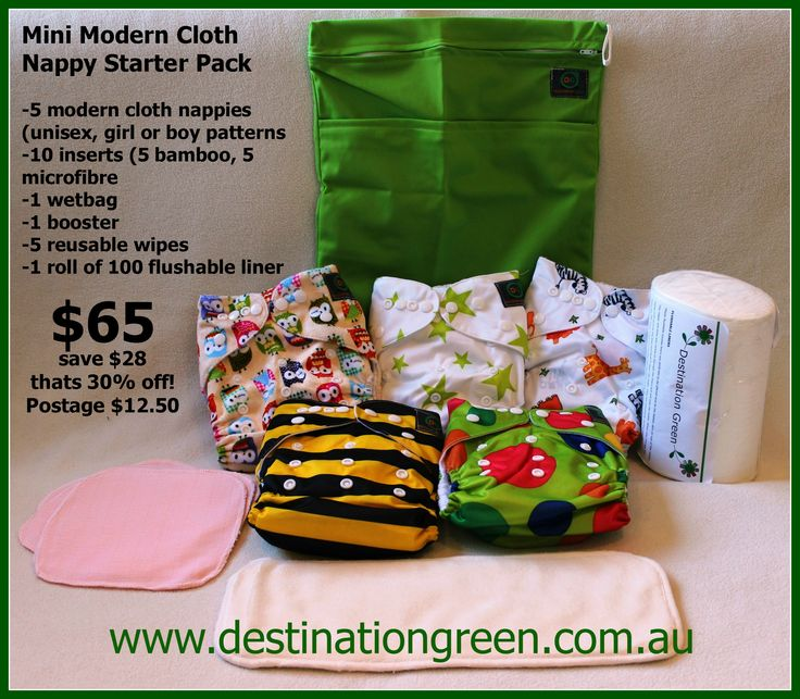 Mini Modern Cloth Nappy Starter Pack http://destinationgreen.com.au/#/our-productsshop/4570352368/Family-Deal-Friday-Sale