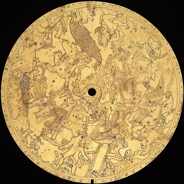 Persian cosmoloigcal map as part of astrolabe