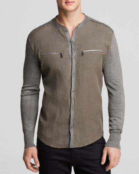 John Varvatos Collection Band Collar Shirt Sweater in Gray for Men (Clove Dust)