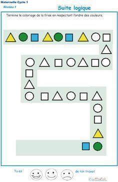 Imprimer l'exercice 2 : Suite logique pour les enfants de PS maternelle exercice
