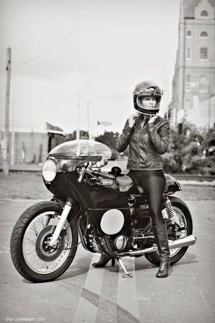 "Wooow! Beautiful girl & Yamaha TX650 Cafe Racer ""Yamaha Whisperer"" by Greg Hageman - Photo by Erick Runyon | caferacerpasion.com"