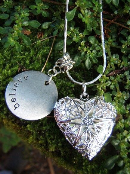 I love how I can set positive intention and remind myself to Believe in me all day long...Sterling Silver Heart Locket with Believe Disc-Aromatherapy