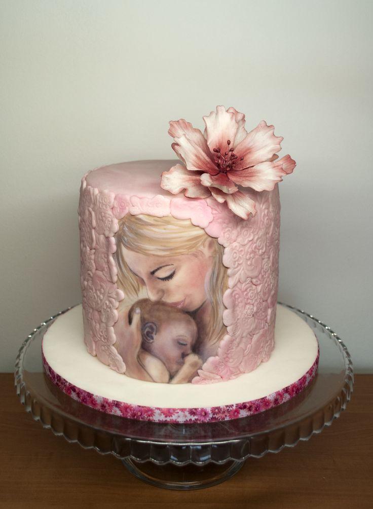 Dort pro maminku čekající holčičku. Cake for Pregnant woman waiting for baby girl.
