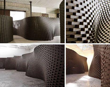 hand crafted by robots brick wall curved design designed by swiss architects gramazio - Brick Design Wall