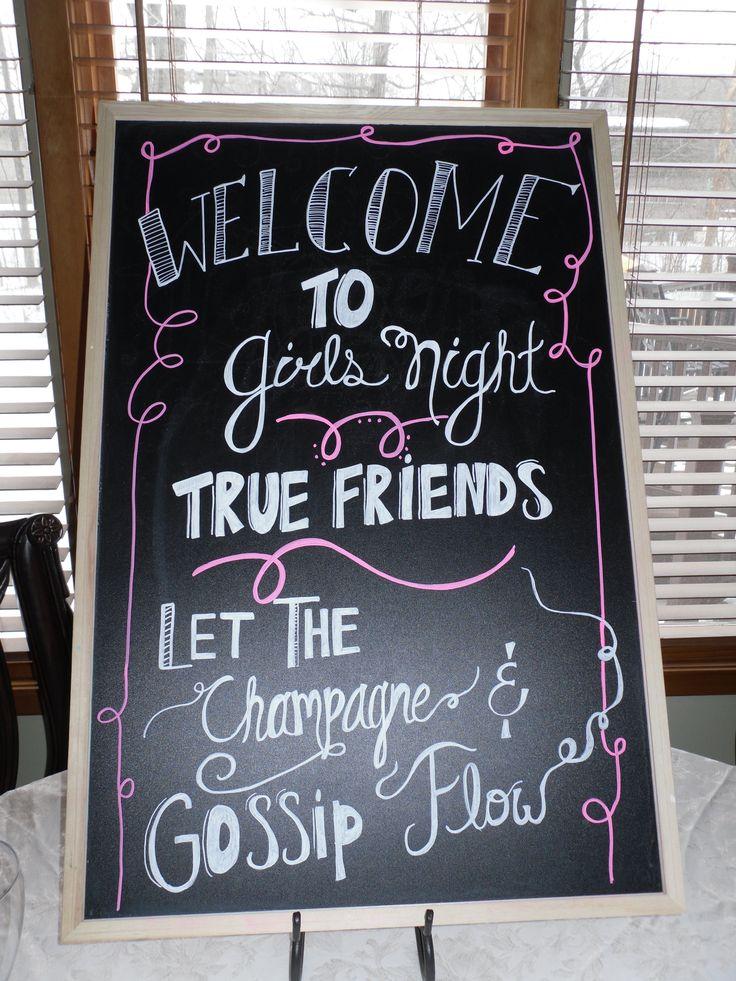 chalkboard. Welcome to girls night :) #chalkdboard #girlsnight