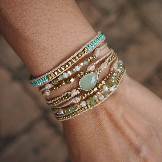 Groen mix laag armband, Boho armband, Beaded armband, bruids gift