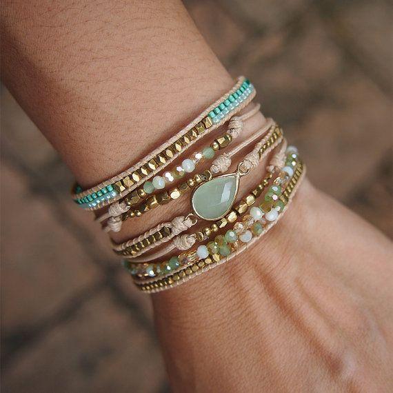 Schicht-Armband grün Mix Boho-Armband Glasperlen von G2Fdesign