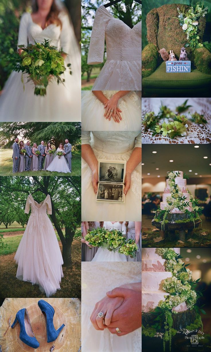 Spring wedding inspiration with green, grey, and blush tones.  Bridal Gown: Trudy's Bridal, Campbell, California Venue: Larsa Banquet Hall, Turlock, California Flowers: The Flowery Unique bridal bouquets with green roses and orchids. Large yellow diamond wedding ring