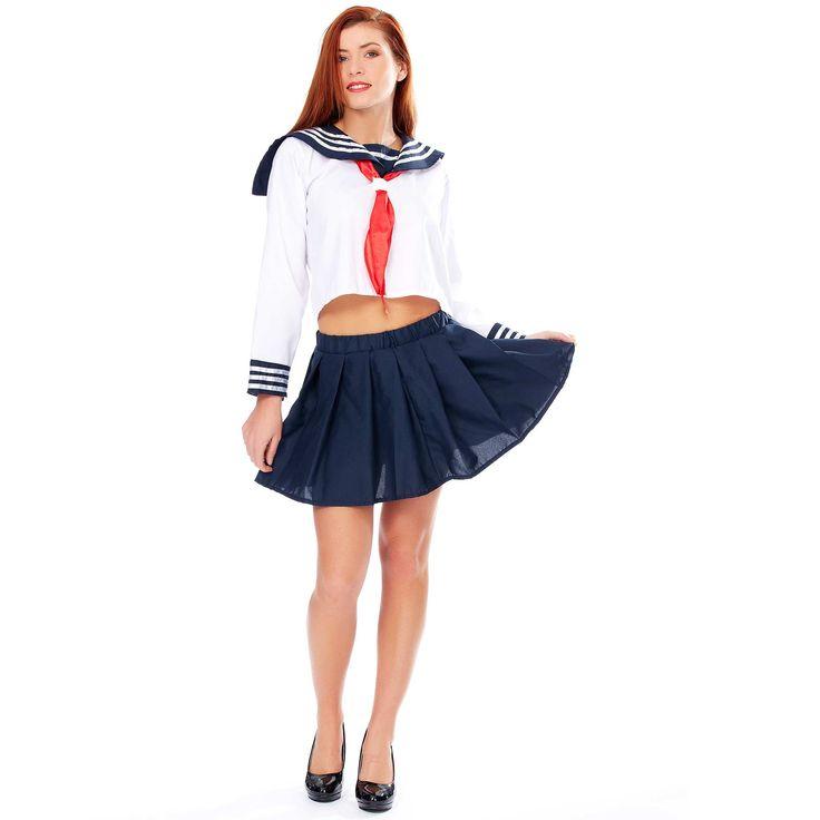 Disfraz de colegiala japonesa                                                                                         blanco/azul Mujer