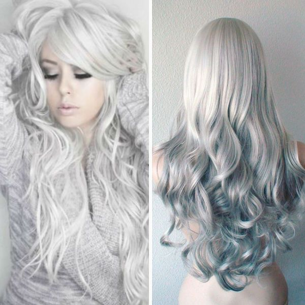 Silver hair color with natural waves, look  so nice ,add it in my hair color list
