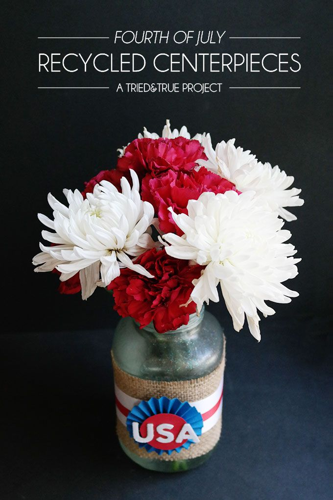73 best americana images on pinterest common ground for Recycled centerpiece ideas