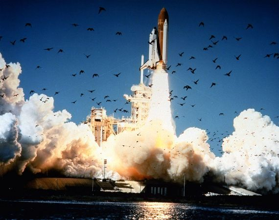 Challenger Explosion | Challenger space shuttle disaster picture: Challenger lifts off from ...