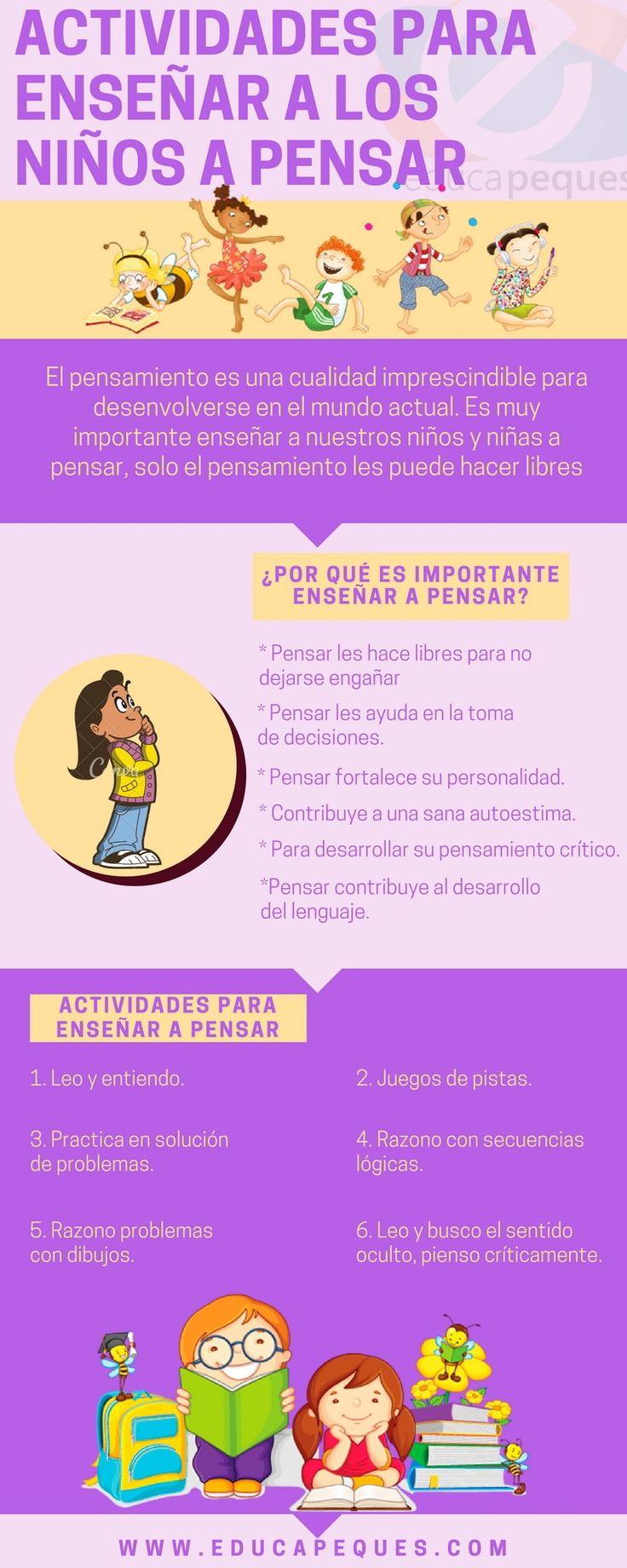 """Hola: Compartimos una interesante infografía sobre """"Cómo Enseñar a Pensar a los Niños"""" Un gran saludo.  Visto en: educapeques.com  También debería revisar: Estrategias para …"""