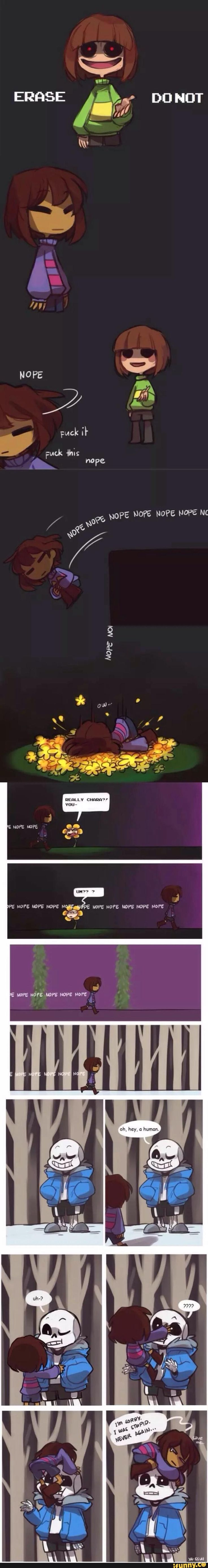 Undertale End of the Genocide run--Loving Chara's face. Note to self, this has Frisk, Chara, Flowey, and Sans in it.