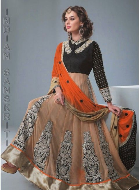 Unique mettalic gold & orange #anarkali with zari, resham & patch work