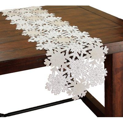 """The Holiday Aisle Shimmer Snowflake Embroidered Cutwork Table Runner Size: 0.2"""" H x 70"""" W x 15"""" L"""