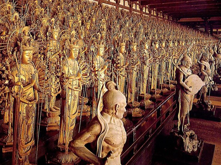 The Thousand Kanon (the Buddha of Compassion) in the Sanjusangendo Hall in Kyoto, Japan